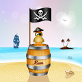 Pirate bird on bottle rum Royalty Free Stock Photo
