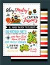 Pirate birthday invitation. Treasure Map Invitation. Vector Illustration. - Vector