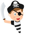 Pirate boy and blank banner a cartoon with a on white background Stock Photography