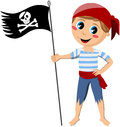 Pirate boy holding flag illustration featuring a cartoon barefoot with a jolly roger isolated on white background eps file is Royalty Free Stock Images
