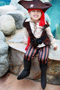 Pirate boy little dressed as Royalty Free Stock Images