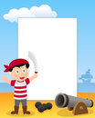 Pirate boy photo frame post card or page for your scrapbook subject a cartoon with a cannon Stock Photos