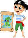 Pirate Boy Showing Treasure Map