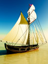 Pirate brigantine out on sea Stock Image