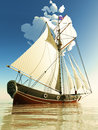 Pirate brigantine out on sea Royalty Free Stock Images