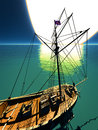Pirate brigantine out on sea Royalty Free Stock Photo