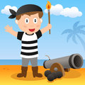 Pirate with cannon on a beach cartoon boy island Stock Photo