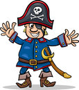 Pirate captain cartoon illustration of funny or corsair with eye patch and jolly roger Royalty Free Stock Photos