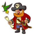 Pirate captain and parrot a holding a map accompanied by his trusty Royalty Free Stock Image