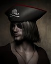 Pirate captain portrait three quarter dark atmospheric of a with hat with skull and cross bones and eyepatch d digitally rendered Royalty Free Stock Photos