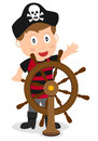 Pirate captain at the rudder a cartoon boy of a ship isolated on white background Royalty Free Stock Photography