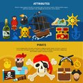 Pirate cartoon banner set Royalty Free Stock Photo