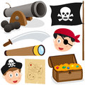 Pirate elements collection set of cannon jolly roger flag sword spyglass treasure box and map cartoon pirates faces isolated on Royalty Free Stock Photography