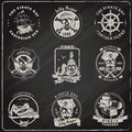 Pirate emblems blackboard chalk set Royalty Free Stock Photo