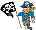Pirate with flag Royalty Free Stock Image