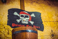 Pirate flag with skull and bones Royalty Free Stock Photo