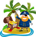 Pirate found his treasure on treasure island cartoon holding sabre next to open chest isolated white background you can find other Stock Photography