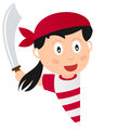 Pirate girl and blank banner a cartoon with a on white background Royalty Free Stock Photo