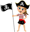 Pirate girl jolly roger flag isolated illustration featuring a cartoon barefoot with a on white background eps file is available Stock Photos