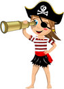 Pirate girl looking through telescope illustration featuring a cartoon barefoot and with eye patch observing the horizon with a Royalty Free Stock Image