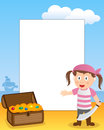 Pirate girl photo frame post card or page for your scrapbook subject a cartoon with a treasure box Royalty Free Stock Images