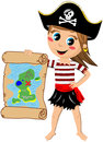 Pirate Girl Showing Treasure Map