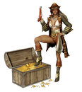 Pirate girl with a treasure d render of fantasy chest of gold coins Royalty Free Stock Images