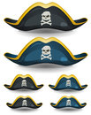 Pirate hat set illustration of a of cartoon or corsair with skull head and cross bones insignia Stock Photos