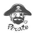 Pirate head with pirate hat and pipe Royalty Free Stock Photo