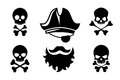 Pirate head vector icons with skull and crossed Royalty Free Stock Photo