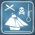 Pirate icons sloop cutlass hangman s knot and jolly roger Royalty Free Stock Photo