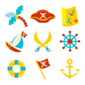 Pirate icons vector set with symbols Royalty Free Stock Photos