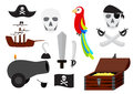 Pirate illustration collection of various isolated equipment Royalty Free Stock Photo
