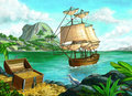 Pirate island s treasure on a tropical original digital painting Stock Photography