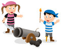 Pirate kids with cannon two cartoon a isolated on white background Royalty Free Stock Images