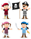 Pirate kids collection set of four cartoon boys and girls isolated on white background Royalty Free Stock Images