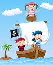 Pirate kids on sailing boat three cartoon a in the sea Royalty Free Stock Image