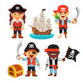 Pirate kids set treasure chest black flag ship rascals girls and boys in hats and bandanas with and flat style vector cartoon Royalty Free Stock Images