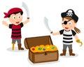 Pirate Kids with Treasure Box Royalty Free Stock Photo