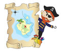 Pirate with map Stock Photos