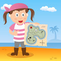 Pirate with map on a beach cartoon girl holding treasure island Stock Photos