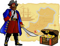 Pirate, Map and Treasure Chest/eps Royalty Free Stock Photography
