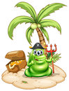 A pirate monster in the island illustration of on white background Royalty Free Stock Images