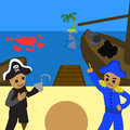 Pirate or navy would you like to join with private oops Stock Image