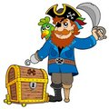Pirate with old treasure chest Royalty Free Stock Photography