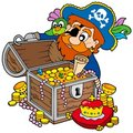Pirate opening treasure chest Stock Image