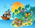 Pirate parrot and chest on island Royalty Free Stock Photos