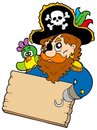 Pirate with parrot holding table Royalty Free Stock Photo