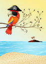 Pirate parrot illustration of on the beach Stock Photography
