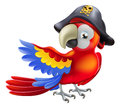 Pirate parrot a red cartoon wearing a pirates hat and eye patch and pointing with his or her wing Stock Images